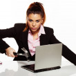 Businesswoman fixing her laptop with a hammer — Stock Photo