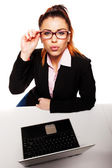 Flirty and provocative business woman — Stock Photo