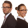 Business couple wearing glasses — Stock Photo