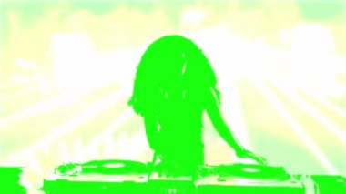 Female silhouette DJ mixing on record deck colorfull — Stock Video