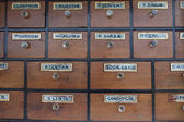 Cabinet of drawers with vintage labels — Stock Photo