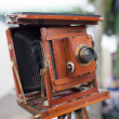 Vintage wooden bellows camera — Photo