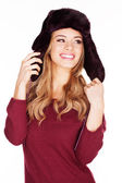 Beautiful woman in a winter cap — Stock Photo