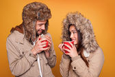Portrait of a couple wearing a winter coats — Stock Photo