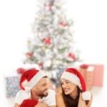 Happy romantic couple celebrate Christmas together — Stock Photo