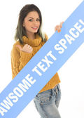 Sexy young woman holding a blank banner — Stock Photo