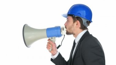 Businessman speaking into a megaphone — Stock Video