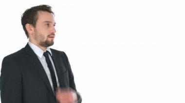 Stressed businessman adjusting his tie — Stock Video