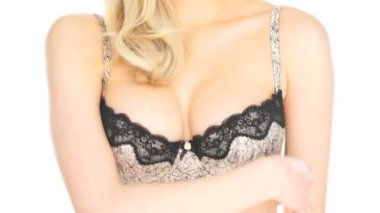 Blonde woman wearing lingerie on white — Stock Video
