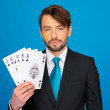 Young business man showing playing cards - — Stock Photo #44105979