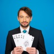 Young business man showing playing cards — Stock Photo #44108047