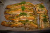 Seasoned savory fish fillets — Stock Photo