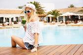 Cute blonde woman — Stok fotoğraf