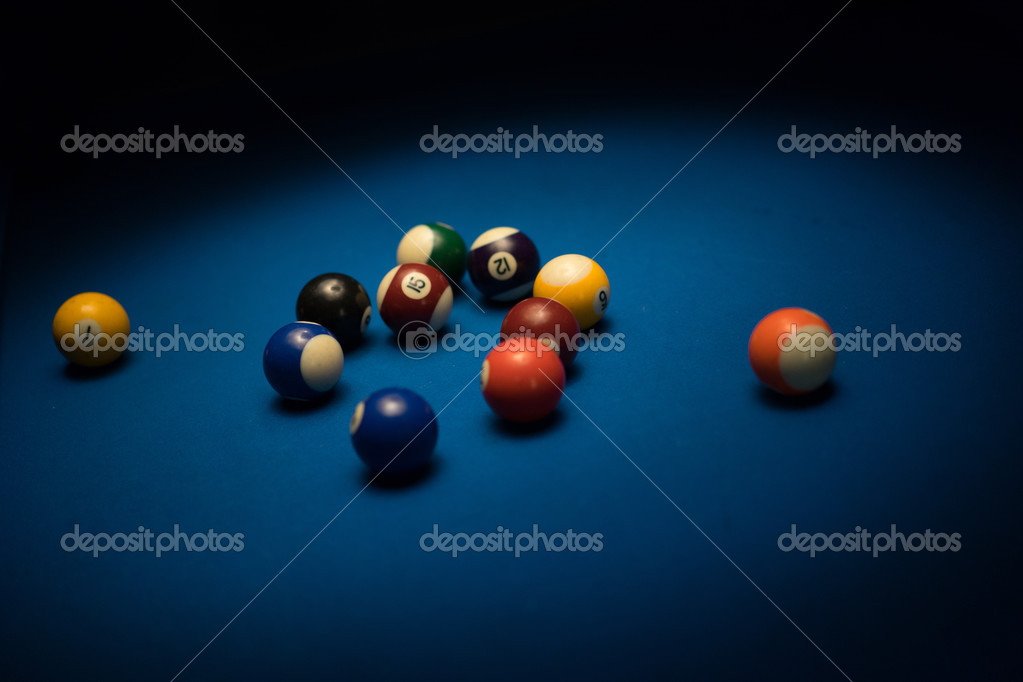 Pool Table Balls Scattered Pool balls scattered on a pool