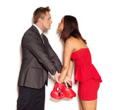 Boyfriend restraining girlfriend from fighting — Stock Photo
