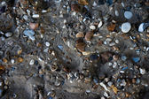 Footprint on wet beach sand with pebbles — Stock Photo