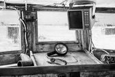 Interior of an old cockpit on a fishing boat — Stock Photo