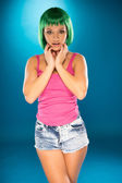 Cute slender young woman with green hair — Foto Stock