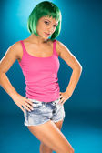 Cute slender young woman with green hair — Foto de Stock