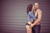 Perfect Body Couple Showing Love Intense Pose — Photo