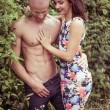 Beautiful Couple Posing Very Sexy on Bush — Stock Photo #50831057