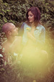 Lovers on Bush Portrait with Light Yellow Flare — Stock Photo
