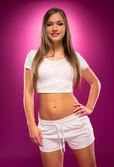 Pretty Young Woman in Sexy Sporty Attire — Stock Photo