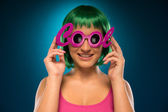 Smiling Pretty Young Lady Wearing Pink Cool Shades — Stock Photo