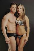 Gorgeous Sexy Partners Wearing Sexy Undies — Stock Photo
