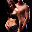 Very Sexy Couple Flaunting Flat Abs — Stock Photo #50910525