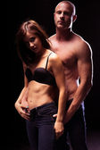Very Sexy Couple Flaunting Flat Abs — Stock Photo