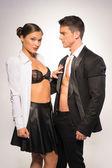 Fashion Photo Shoot. Two Sexy Young Couple — Foto de Stock