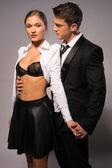 Young Couple in Fashion Corporate Attire Portrait — Stock Photo