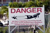 Jet blast danger sign. — Stock Photo