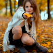 The girl in an autumn forest. — Stock Photo