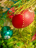 Christmas ball on a pine branch. — Stock Photo
