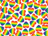 A lot hearts with gay pride flag inside on white.Background. — Stock Photo