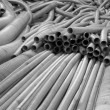 Stock Photo: Flexible metal hose in warehouse.Monohrome.