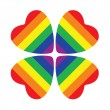 Stock Photo: Flower made from four hearts with gay pride flag inside.Isolated