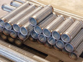 The heap of flexible metal hose taken closeup. — Stock Photo