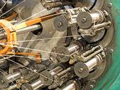 The braiding machine of flexible metal hose production line take — Stock Photo