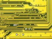 Yellow electronic microcircuit.Background. — Foto Stock