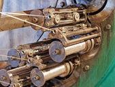 Detail of braiding machine taken closeup.Flexible metal hose pro — Stock Photo