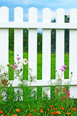 White fence on green grass and flowers. — Stock Photo