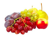 Ripe plums,grape,apples and pear.Isolated. — Stock Photo