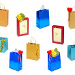 Stock Photo: Set of various gift bag.Isolated.