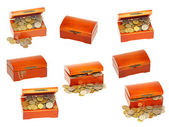 Set of old wooden treasure casket with money.Isolated. — Stock Photo