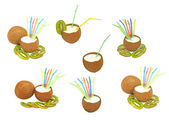 Set of coconuts with a milk- shake and kiwi.Isolated. — Stock Photo