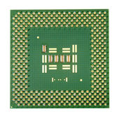 Computer processor chip isolated on white background. — Stock Photo
