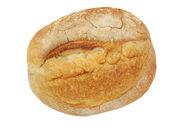 Round loaf of crunchy crust bread.Isolated. — Stock Photo